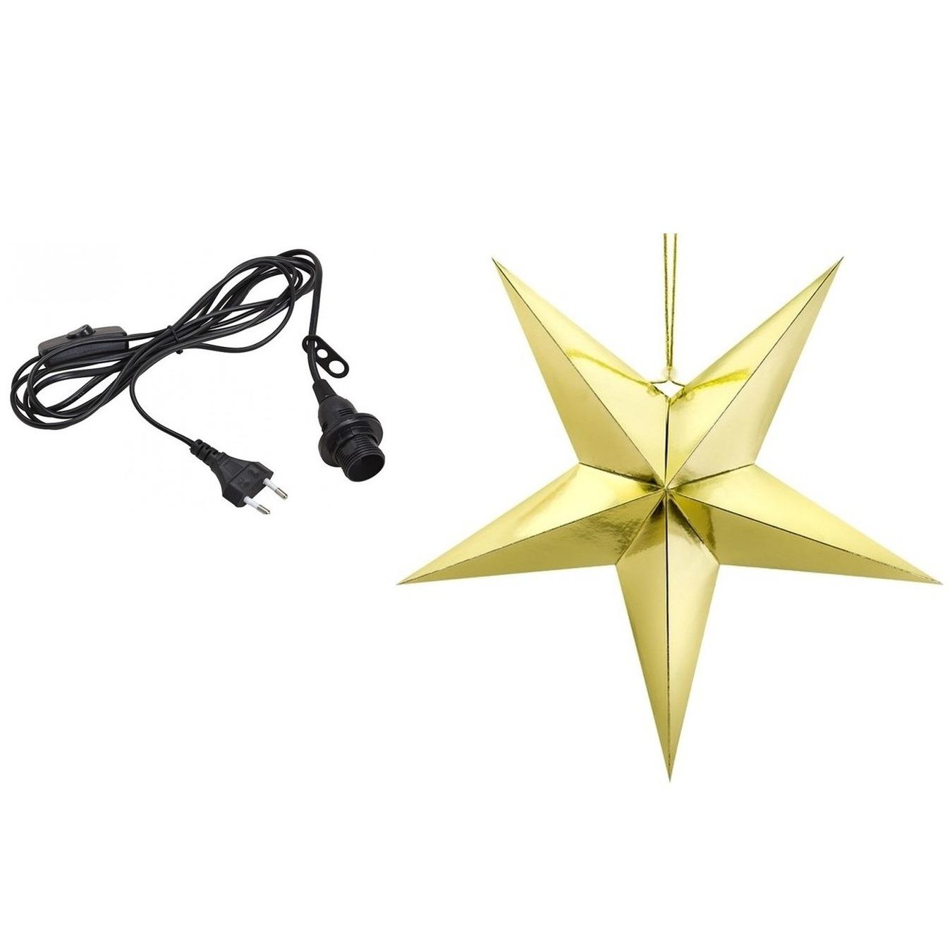 Kerstversiering gouden kerststerren 45 cm inclusief zwarte lichtkabel