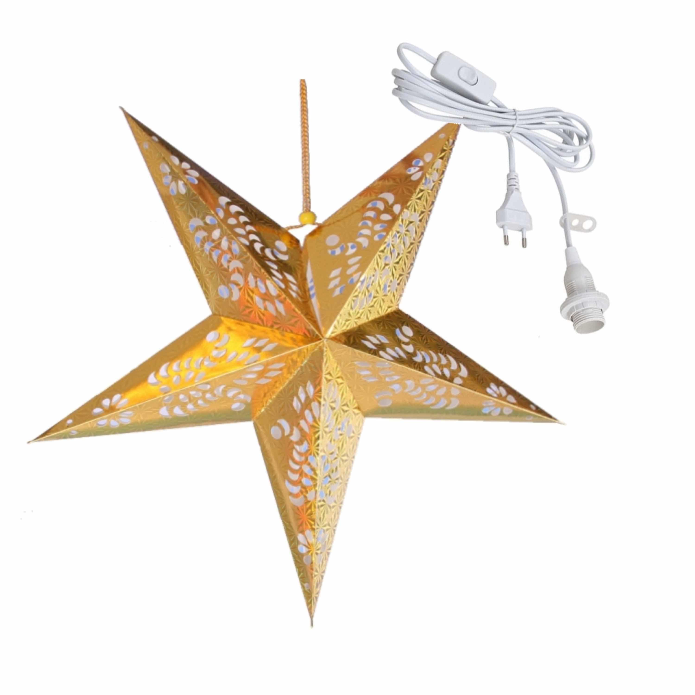 Kerstversiering gouden kerststerren 60 cm inclusief lichtkabel