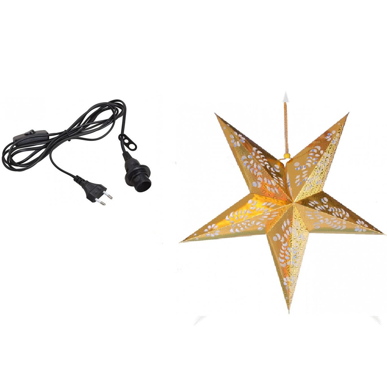 Kerstversiering gouden kerststerren 60 cm inclusief zwarte lichtkabel