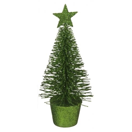 Kerstversiering groene glitter kerstbomen-kerstboompjes 15 cm