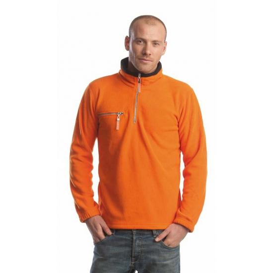 Kleding oranje met zwarte fleece trui voor volwassenen