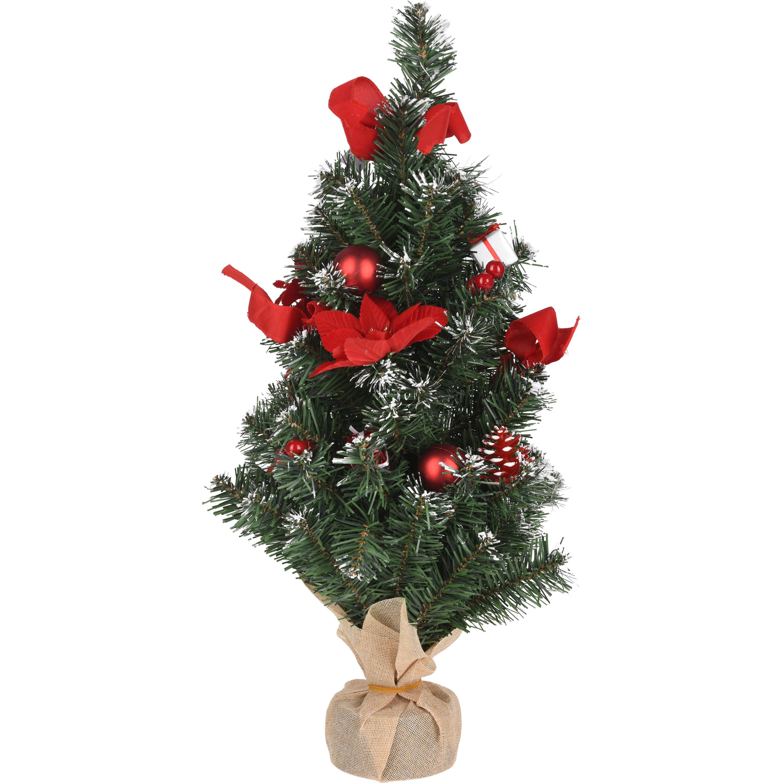 Kleine kunst kerstboom-kerstboom met rode kerstversiering 60 cm