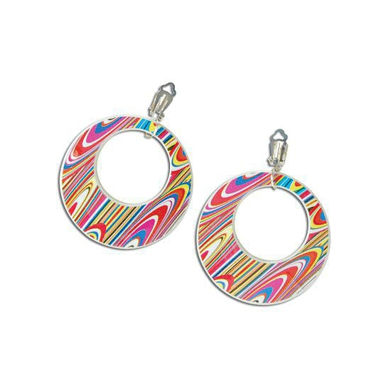 Klem oorbellen gekleurde swirl