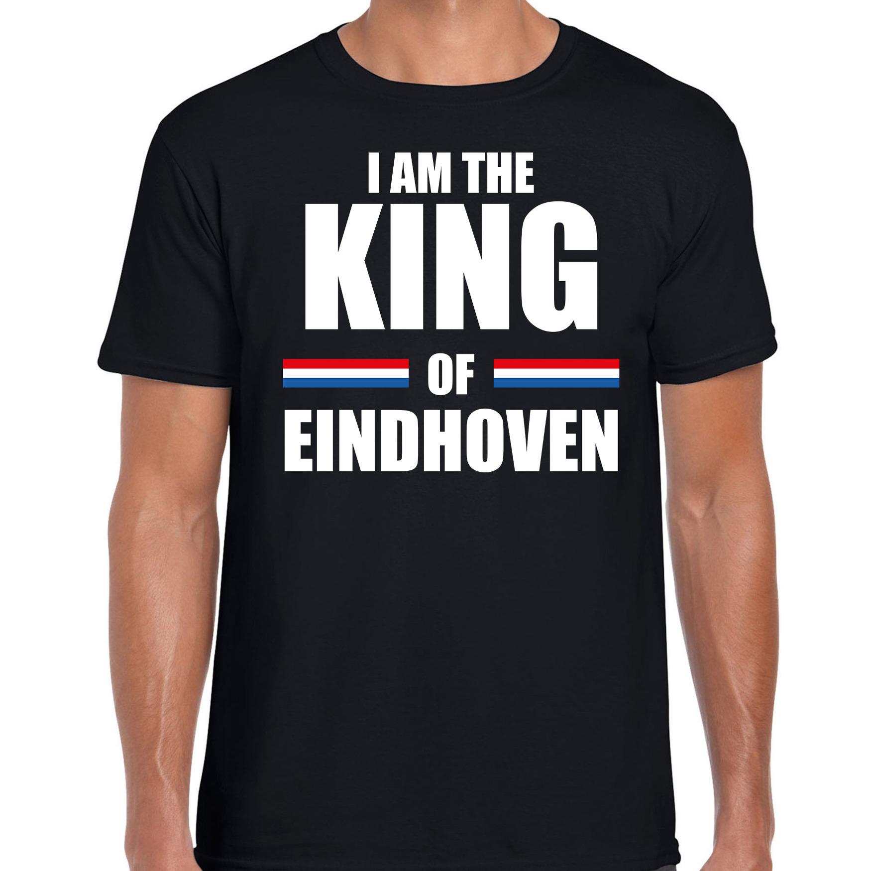Koningsdag t-shirt I am the King of Eindhoven zwart voor heren