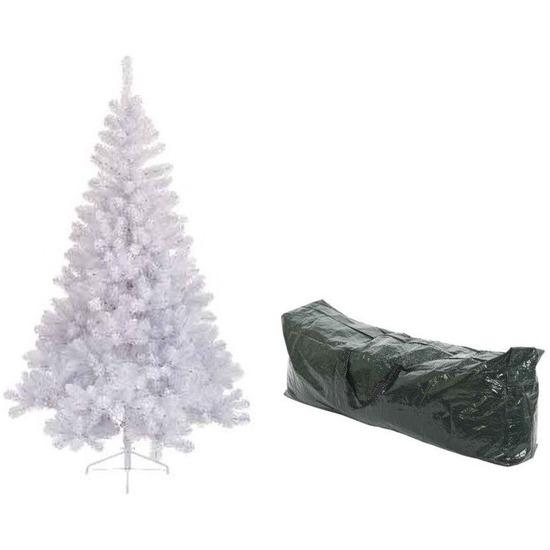 Kunst kerstboom wit Imperial pine 525 tips 180 cm met opbergzak