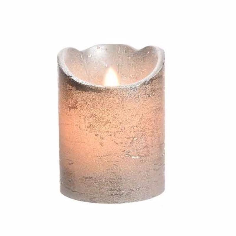 LED kaars-stompkaars zilver 10 cm flakkerend