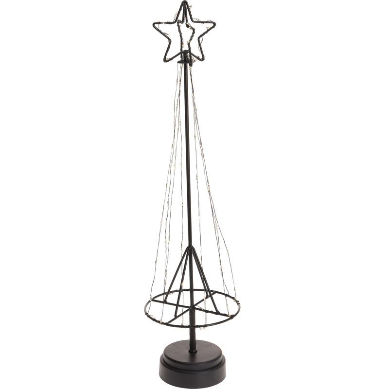 Lichtgevende metalen Kerstboom decoratie op batterij 50 cm
