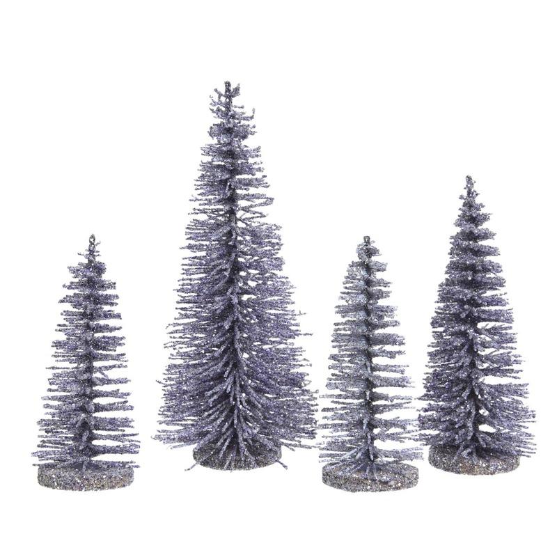 Lila kleine paarse kunst kerstboom glitter 15 cm 4 stuks