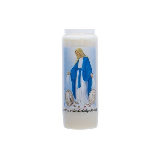 Maria kaars in houder 9-dagen brander 18 cm Religieus thema