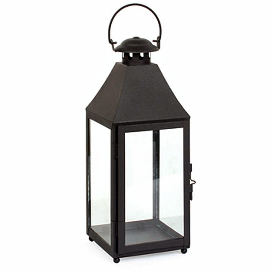 Metalen lantaarn-windlicht Bilbao 14 x 14 x 37 cm zwart