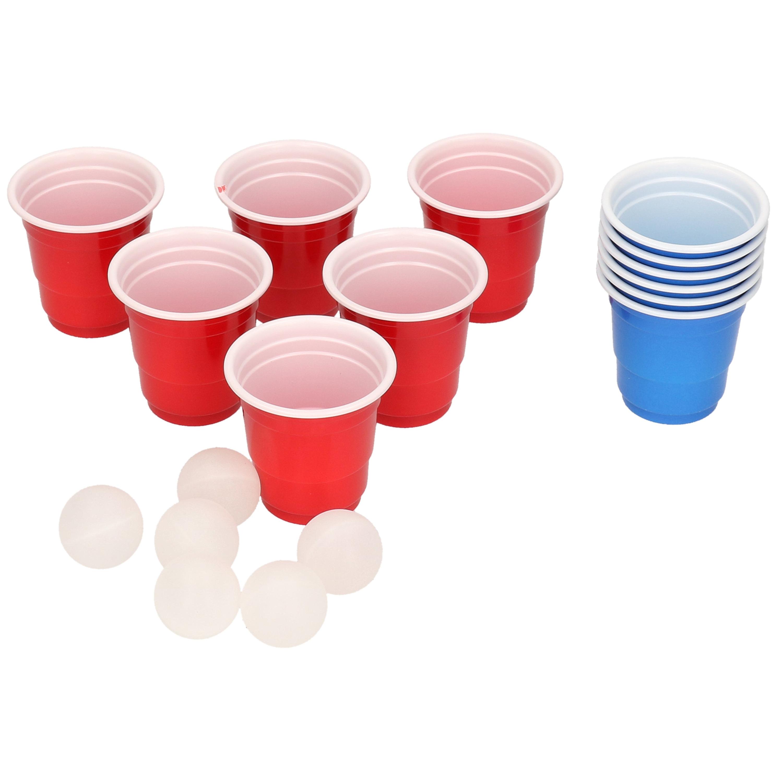 Mini beer pong drankspel-drinkspel 18 delig