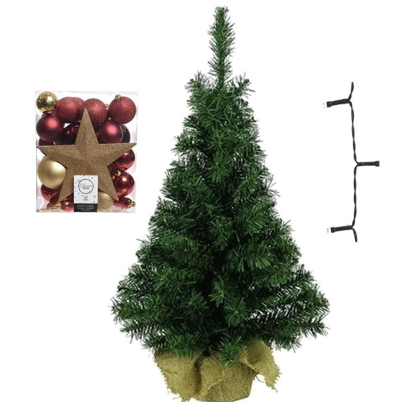 Mini kerstboom inclusief lampjes en goud-rode versiering