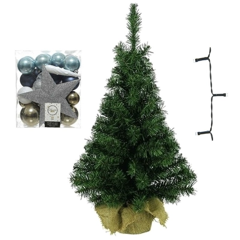 Mini kerstboom inclusief lampjes en wit-bruin-blauwe versiering