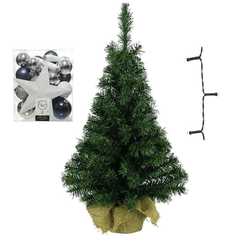 Mini kerstboom inclusief lampjes en wit-zilver-blauwe versiering