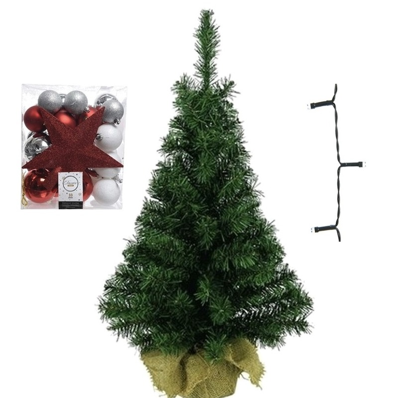Mini kerstboom inclusief lampjes en wit-zilver-rode versiering