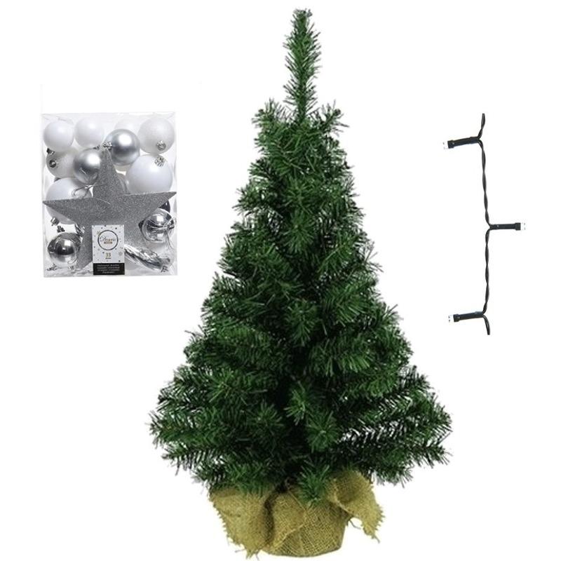 Mini kerstboom inclusief lampjes en wit-zilveren versiering