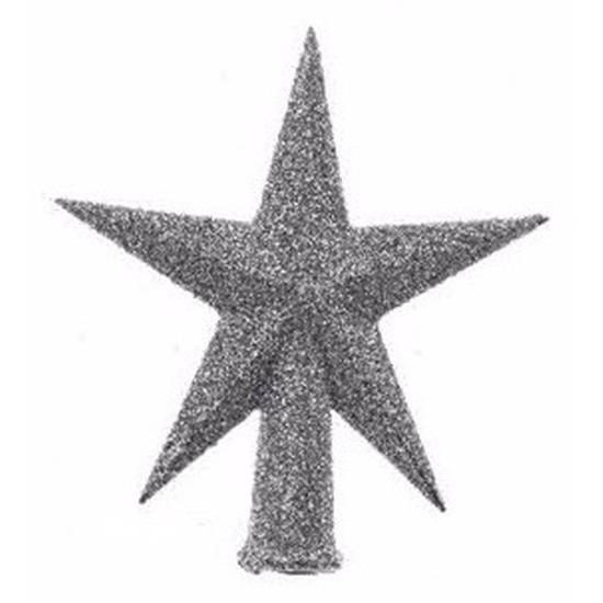 Mini kerstboom piek kunststof zilver glitter 12 cm