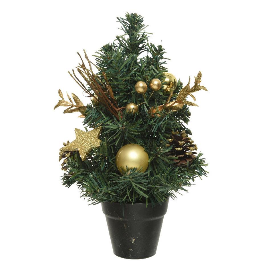 Mini kunst kerstbomen-kunstbomen met gouden versiering 30 cm