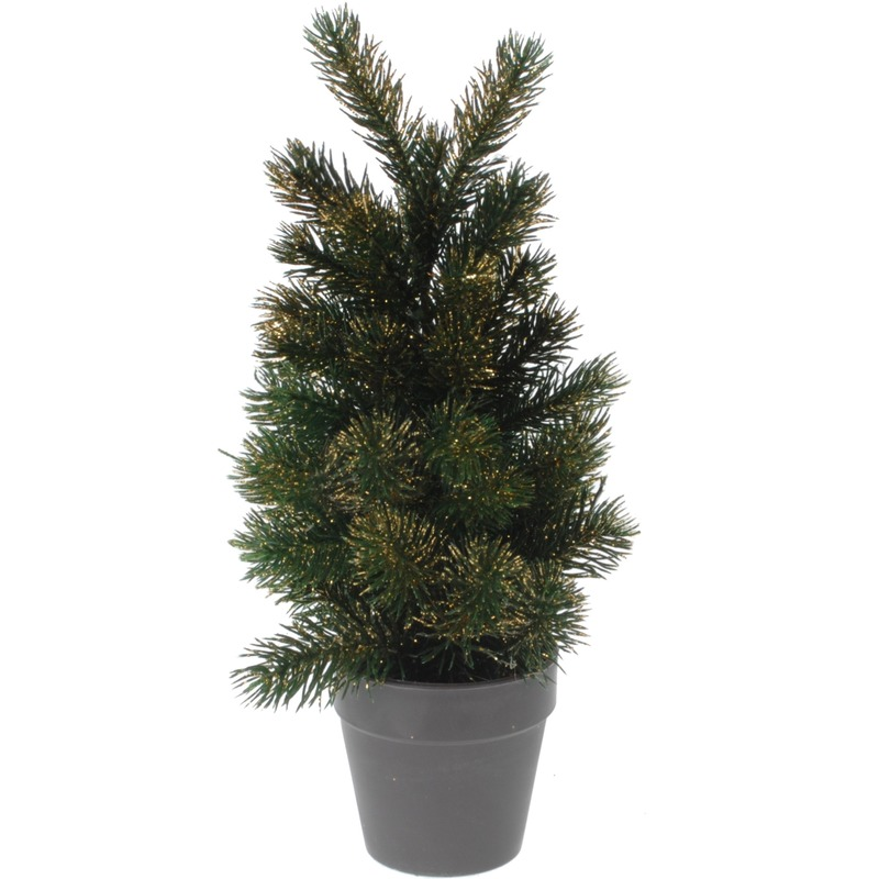 Mini kunst kerstboom 29 cm groen-goud