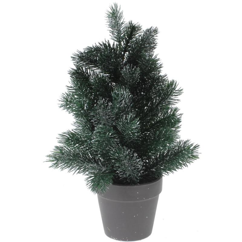 Mini kunst kerstboom 29 cm groen-zilver