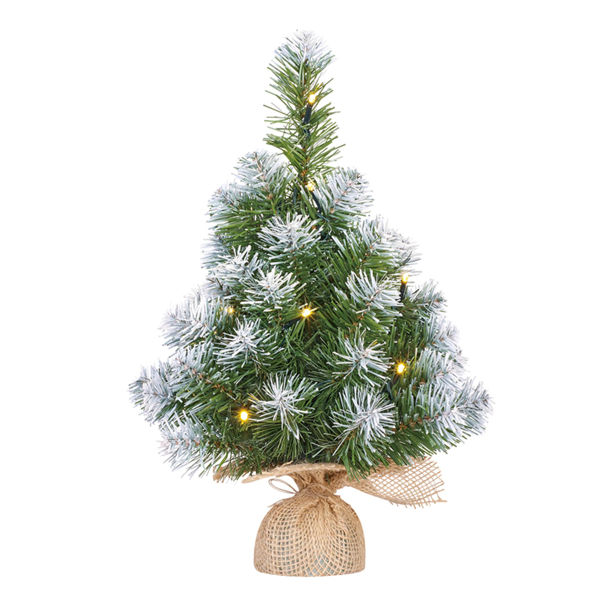 Mini kunst kerstboom-kunstboom in jute zak met verlichting en sneeuw 45 cm