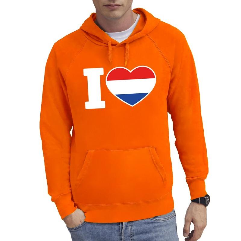 Oranje I love Holland hoodie heren