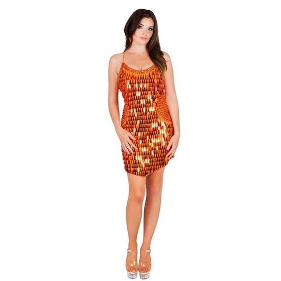 98ad8dd75ff0f7 Oranje jurkje met glitters. sexy glitterjurkje