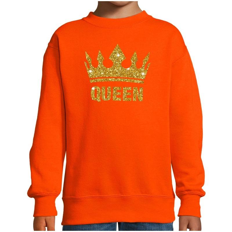 Oranje Koningsdag gouden glitter Queen sweater kinderen