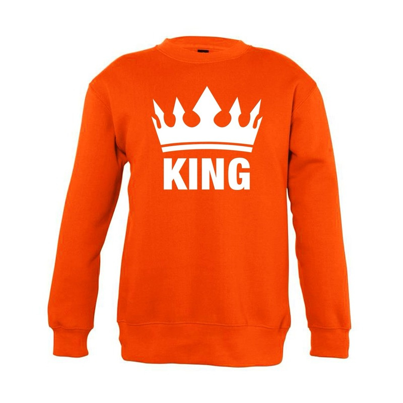 Oranje Koningsdag King sweater kinderen