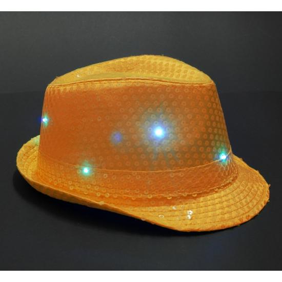 Oranje pailletten hoedje met led licht