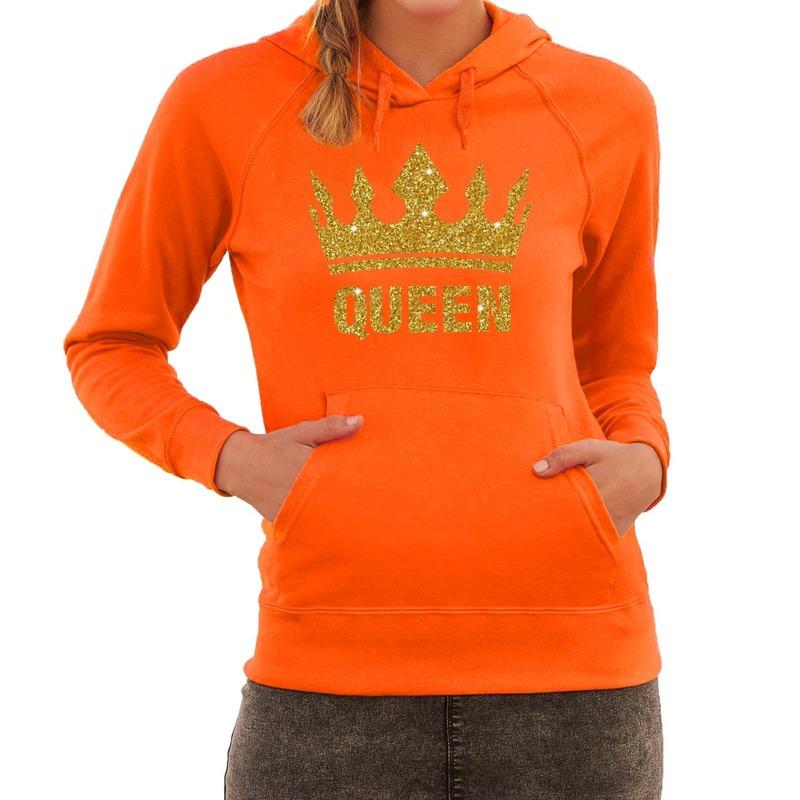 Glitter Trui Dames.Oranje Queen Gouden Glitter Kroon Hoodie Hooded Sweater Dames In