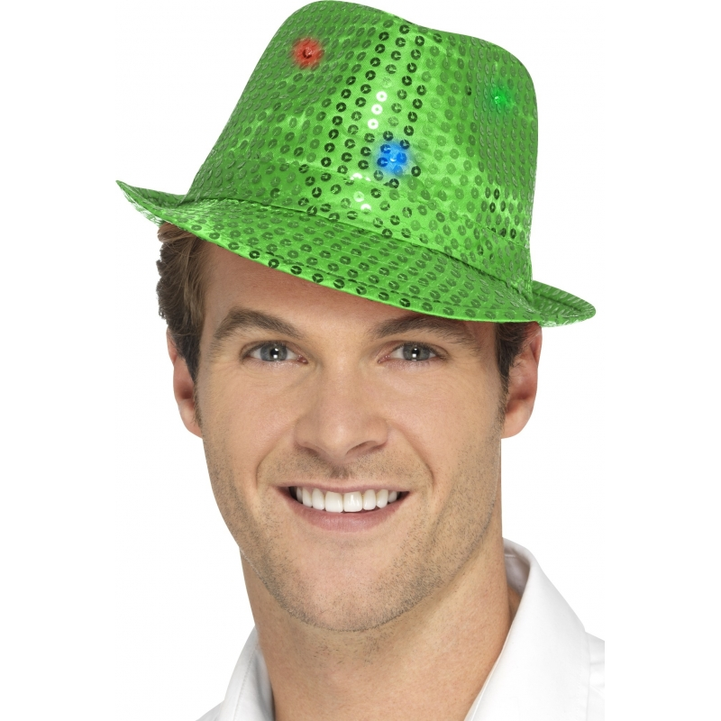 Pailletten hoedje groen met LED lichtjes