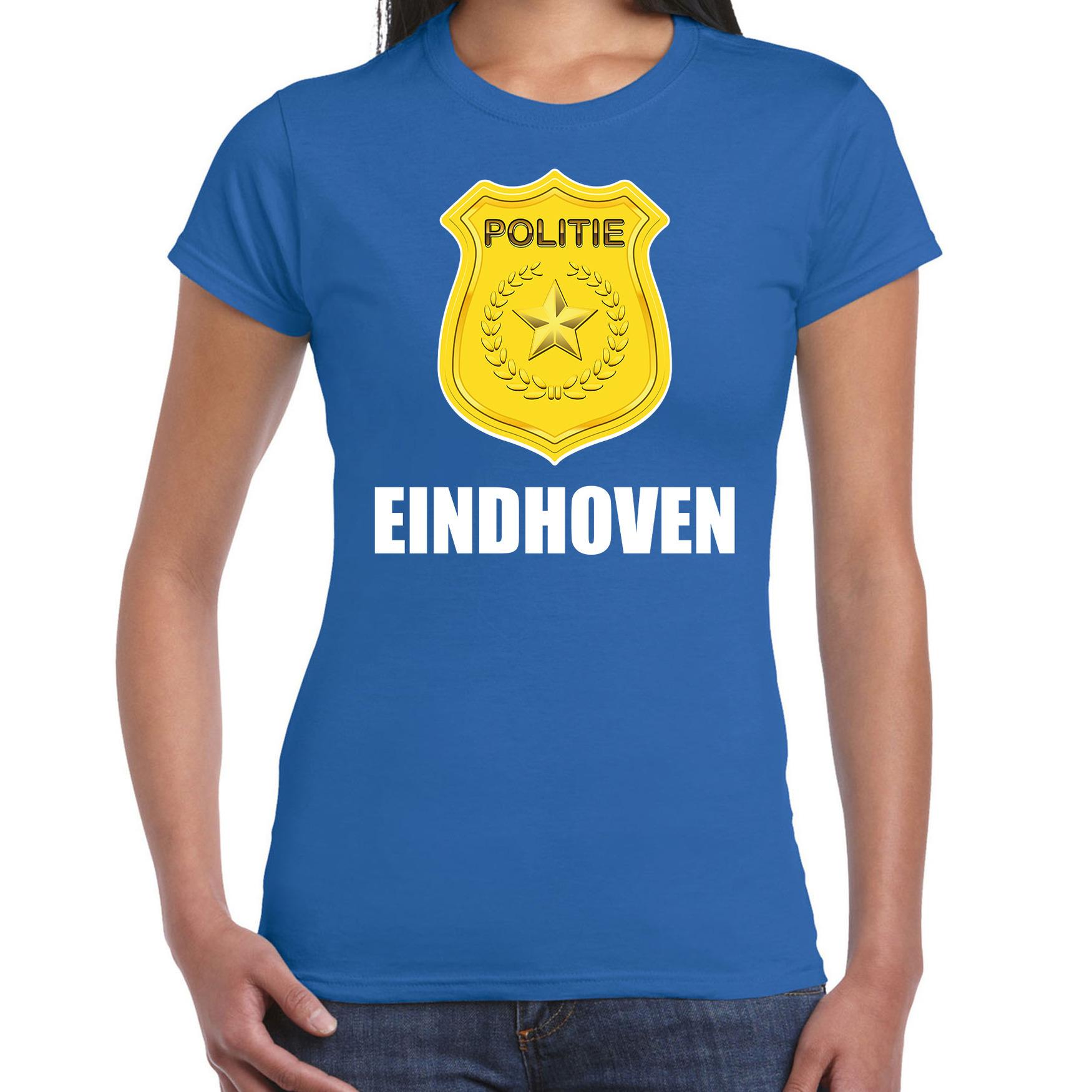 Politie embleem Eindhoven carnaval verkleed t-shirt blauw voor dames
