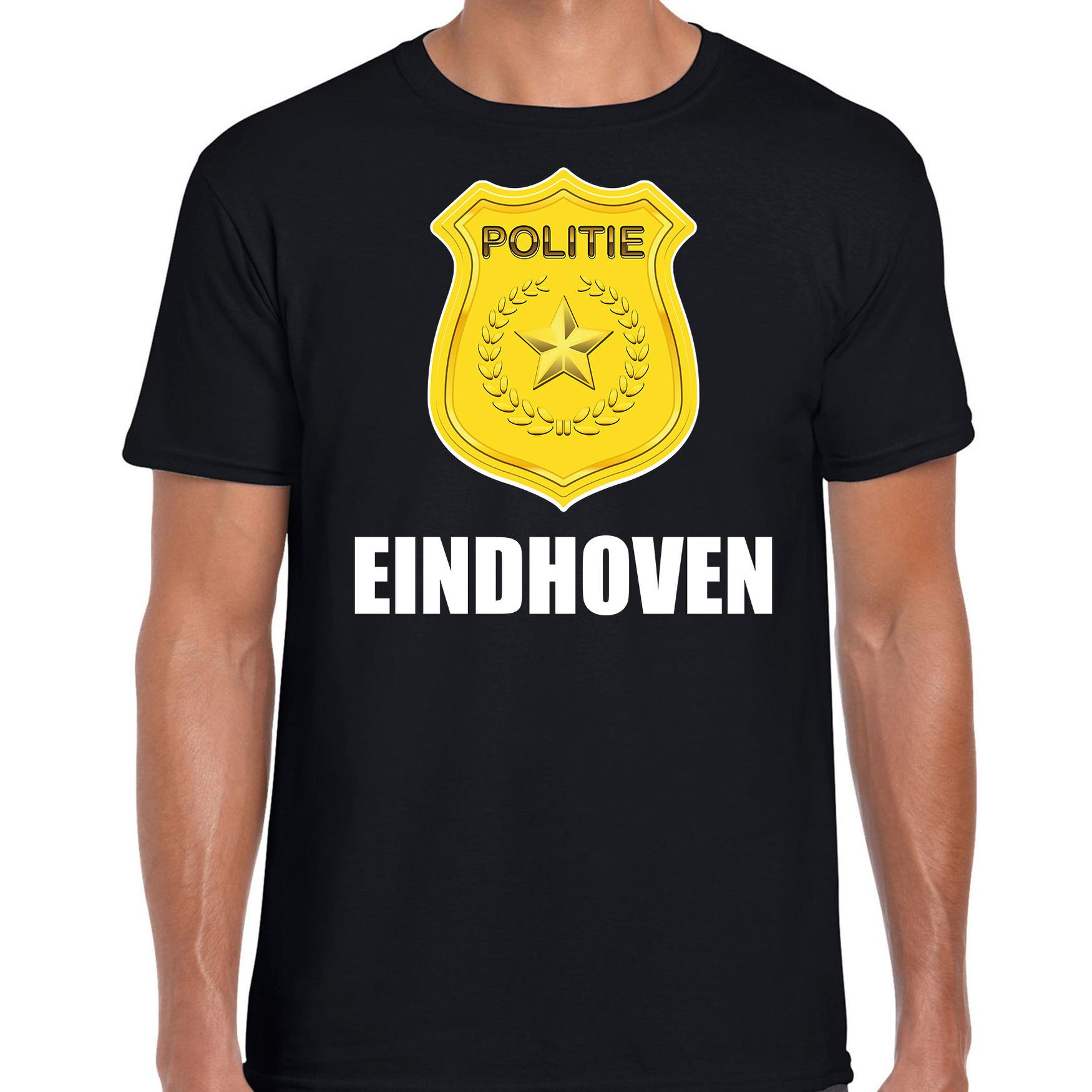 Politie embleem Eindhoven carnaval verkleed t-shirt zwart voor heren