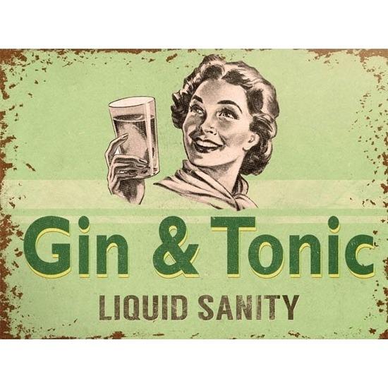 Retro muurplaatje Gin Tonic Liquid Sanity 15 x 20 cm