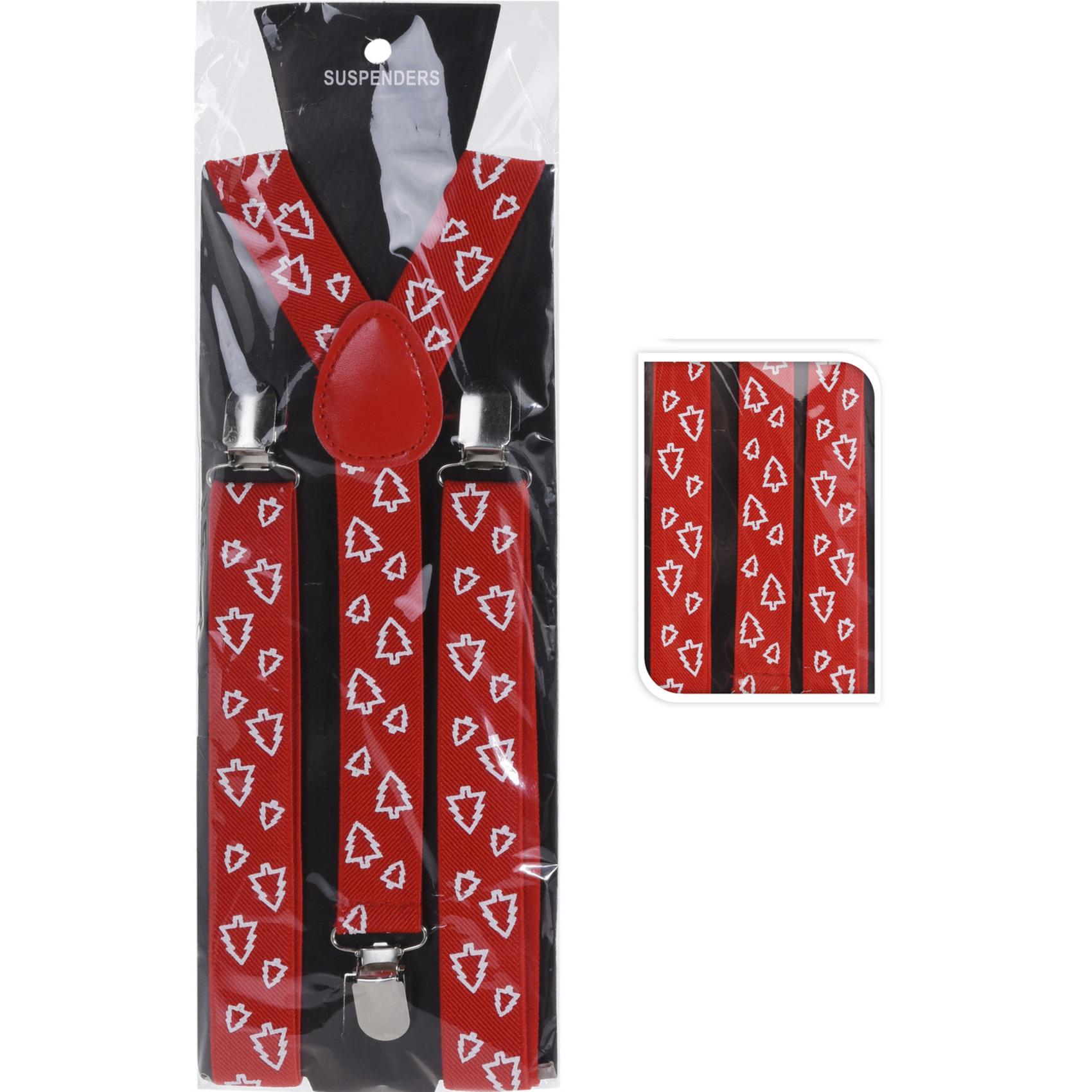 Rode kerst bretels met kerstbomen kerstaccessoires voor volwassenen