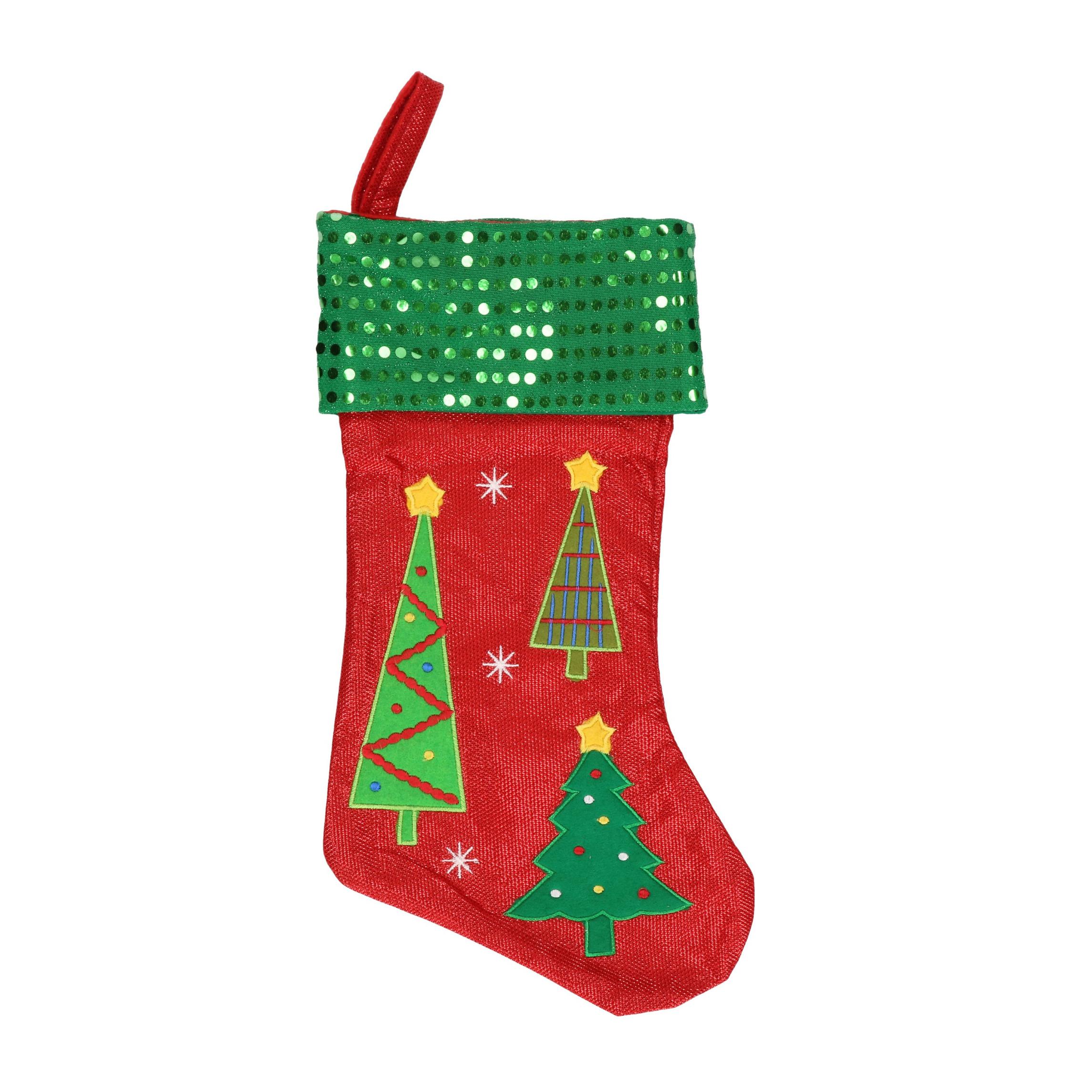 Rood-groene kerstsokken met kerstbomen print 45 cm