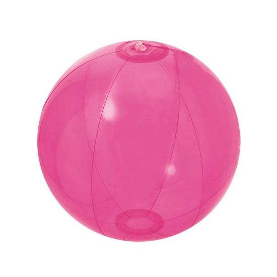Roze doorzichtige strandbal 30 cm