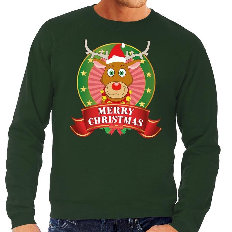 Rudolf kersttrui groen Merry Christmas voor heren