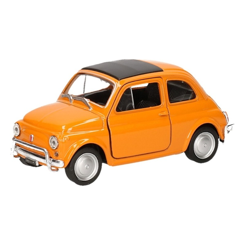 Speelgoed oranje Fiat 500 classic auto 1:36