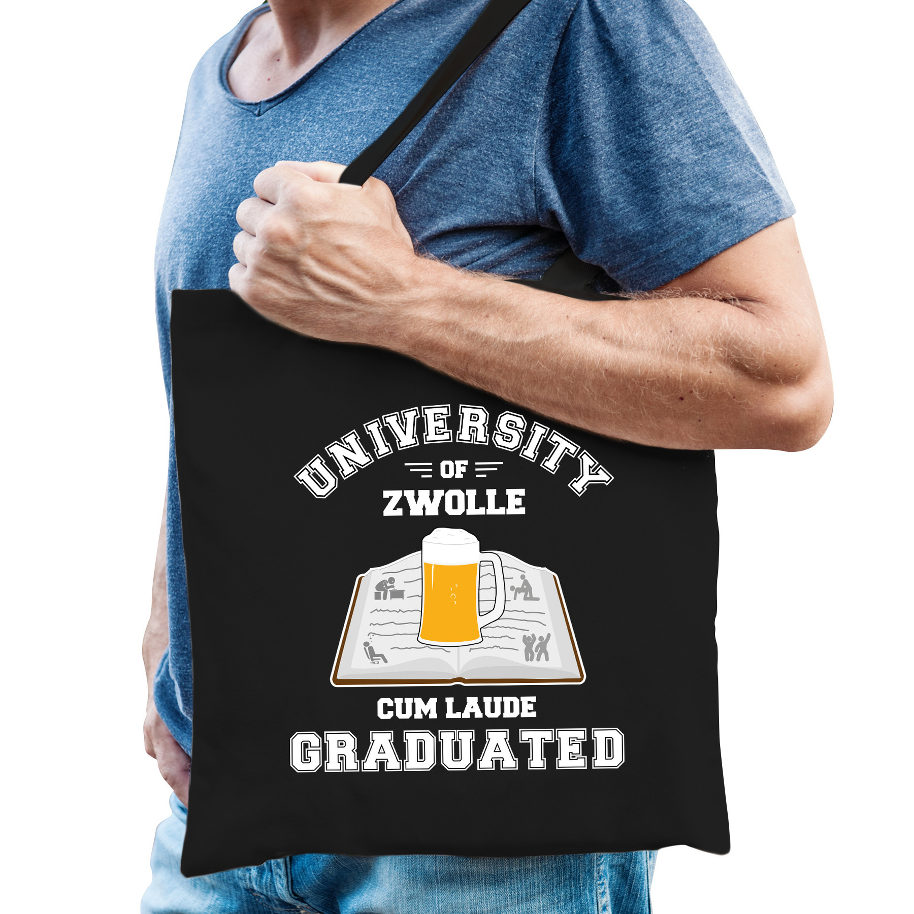 Studenten verkleed tas zwart university of Zwolle voor heren