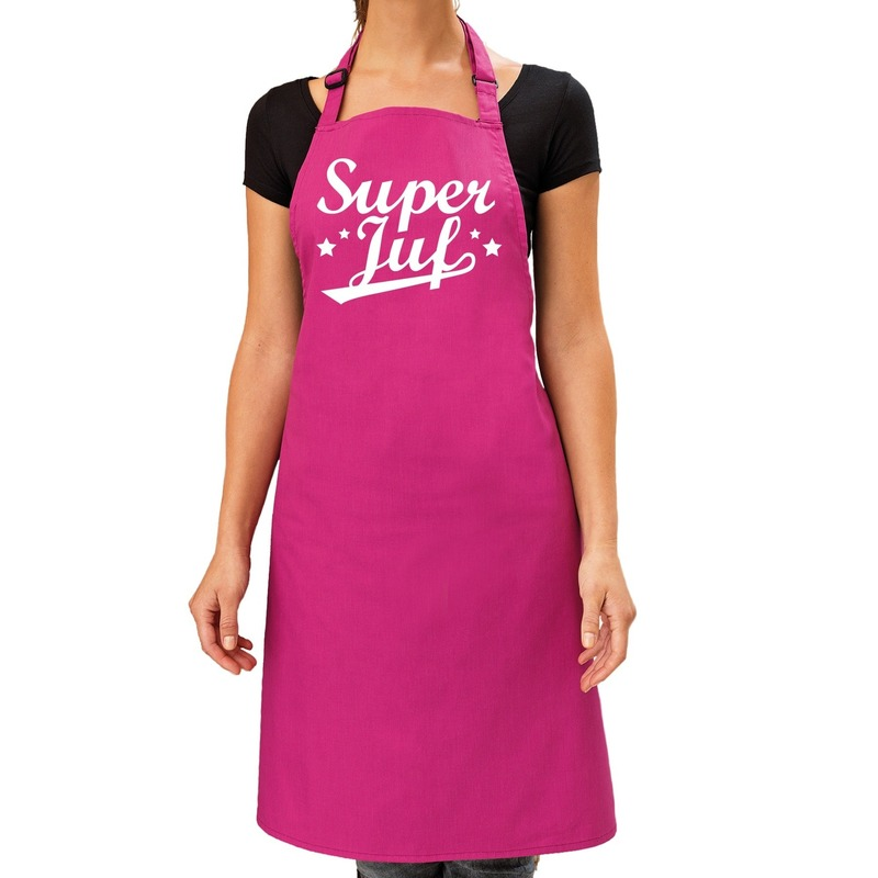 Super juf cadeau keuken schort roze dames