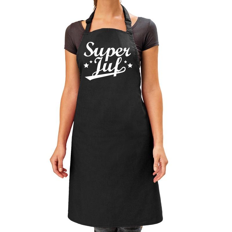 Super juf cadeau keuken schort zwart dames