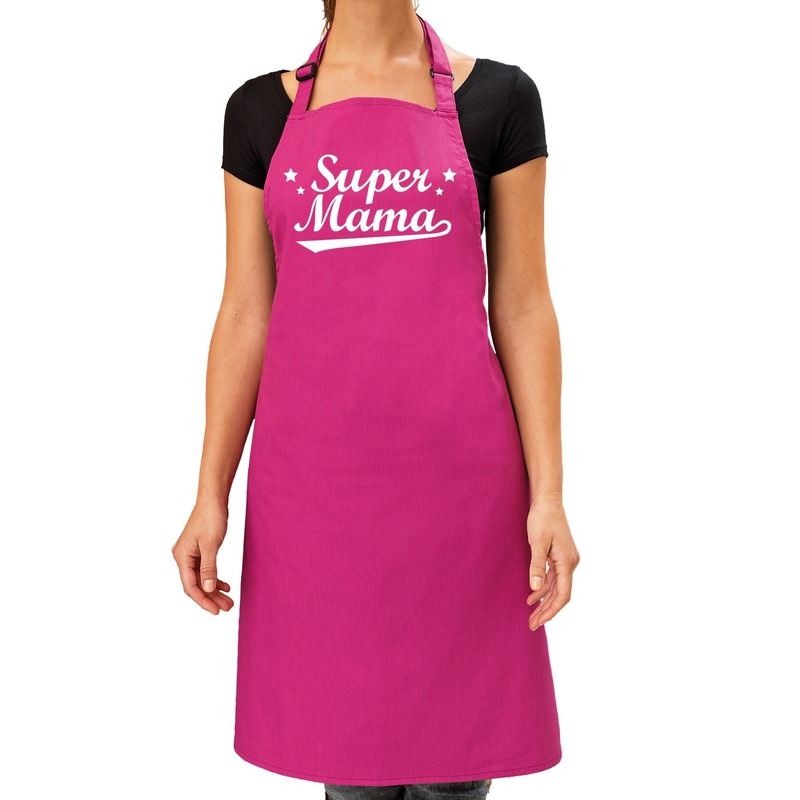 Super mama cadeau bbq-keuken schort roze dames