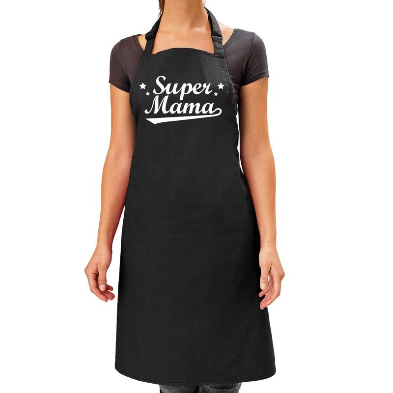 Super mama cadeau bbq-keuken schort zwart dames