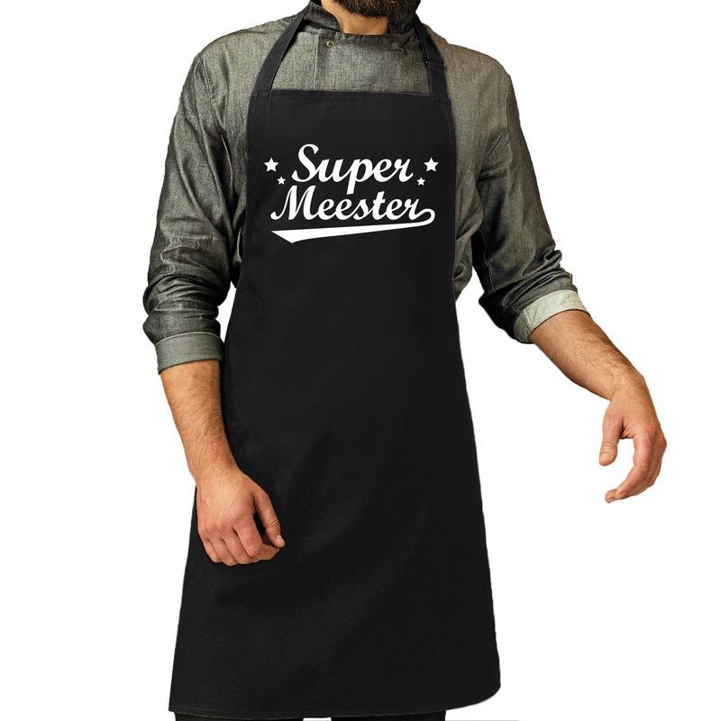 Super meester cadeau bbq-keuken schort zwart heren