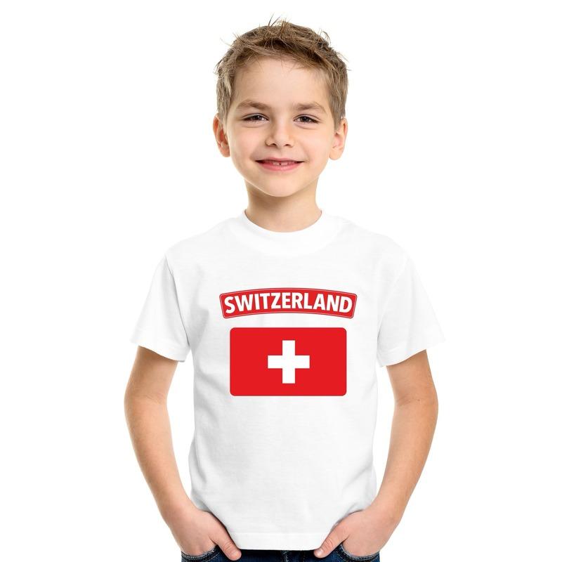 T-shirt met Zwitserse vlag wit kinderen