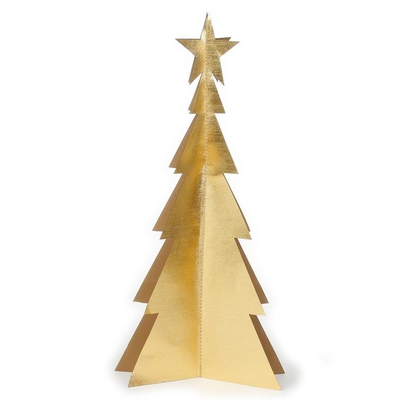 Tafeldecoratie gouden papieren kerstbomen kerstdecoratie 34 cm