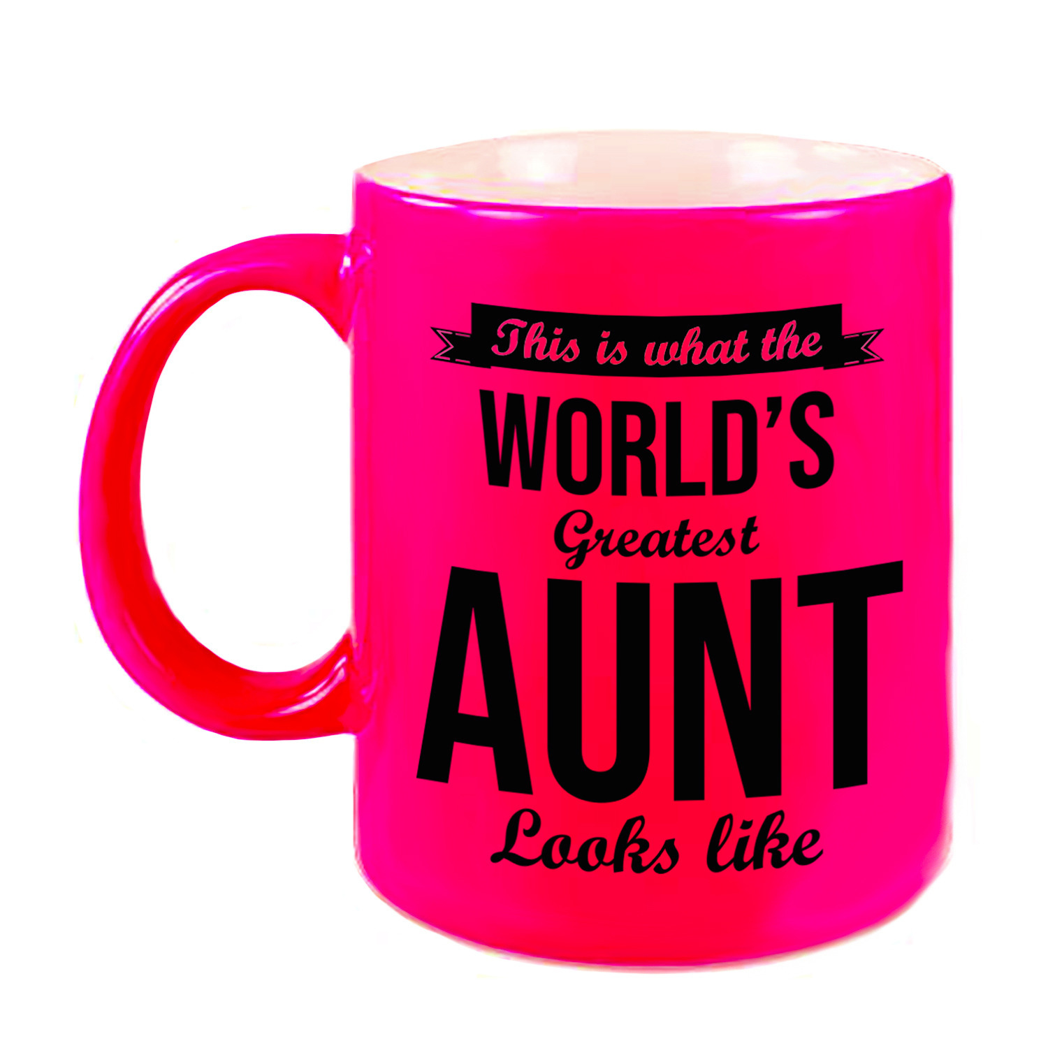 Tante cadeau mok-beker neon roze This is what the Worlds Greatest Aunt looks like