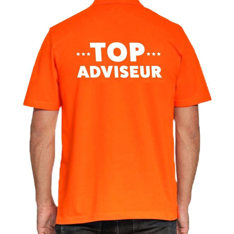 Top adviseur beurs-evenementen polo shirt oranje vo